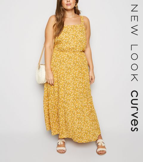 65fe918e97d ... Curves Mustard Ditsy Floral Cheesecloth Maxi Dress ...