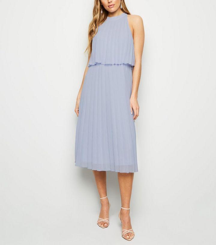 a78a166b0af2 Pale Blue Halter Neck Pleated Midi Dress