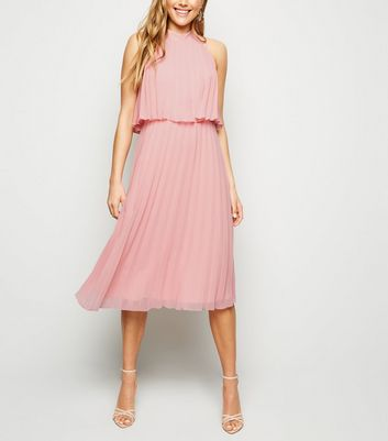 Coral Halter Neck Pleated Midi Dress