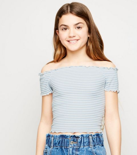 3cac9aea01a0e ... Girls Blue Stripe Bardot Top ...