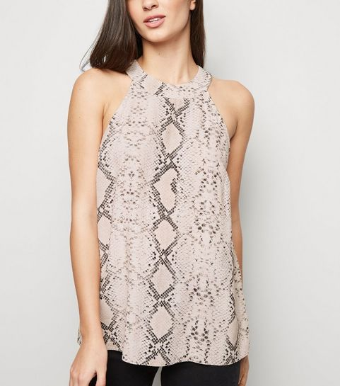 5682366841e96 ... Pink Snake Print Sleeveless Top ...