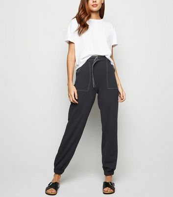 Black Contrast Stitch Utility Joggers by New Look