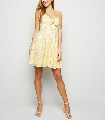 Pale Yellow Lace Bow Front Skater Dress