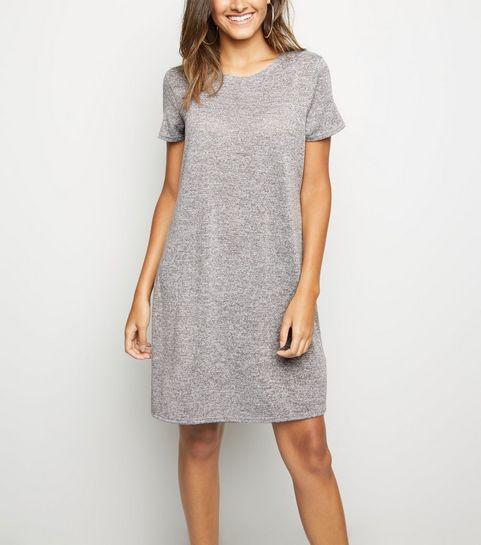 f75c24a7bf ... Grey Short Sleeve Swing Dress ...