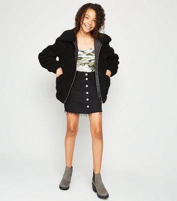 Tall Black Oversized Teddy Coat