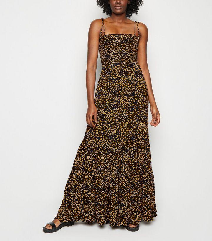 02d45c5f104 Tall Blue Leopard Print Shirred Maxi Dress | New Look