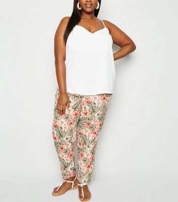 Curves Green Tropical Floral Woven Joggers