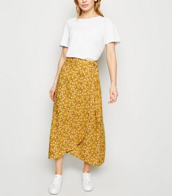 Petite Yellow Ditsy Floral Wrap Midi Skirt