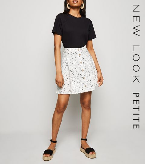 f2af1bee198 ... Petite White Spot Button Up Mini Skirt ...