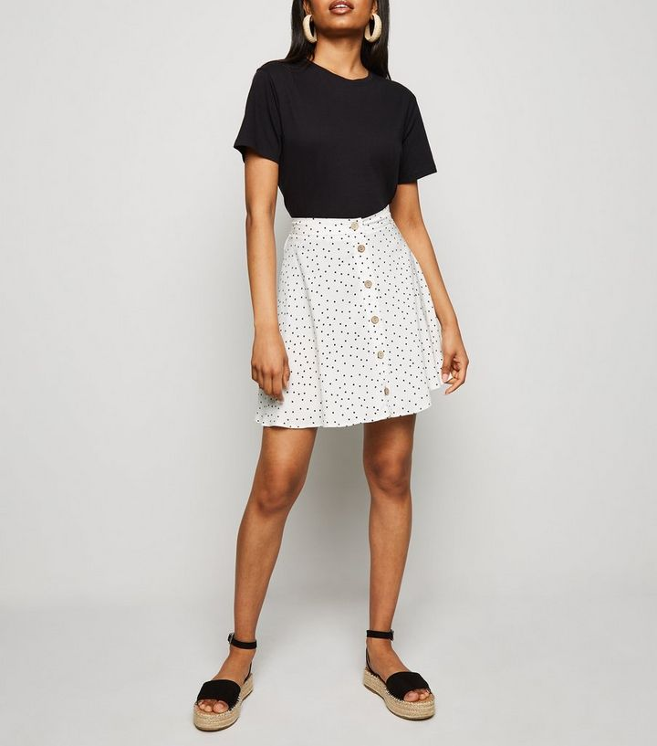 184a0a72eaa0 Petite White Spot Button Up Mini Skirt | New Look