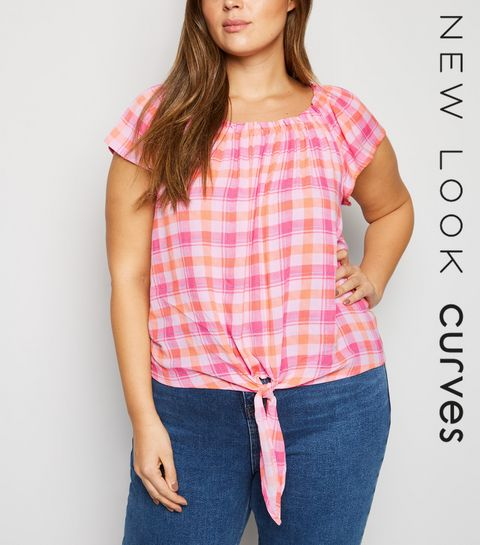 ec760f781b8 ... Curves Pink Check Tie Front Top ...