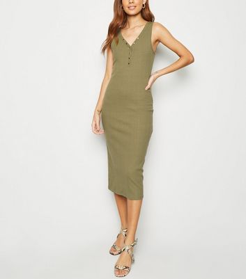 Khaki Ribbed Popper Midi Bodycon Dress