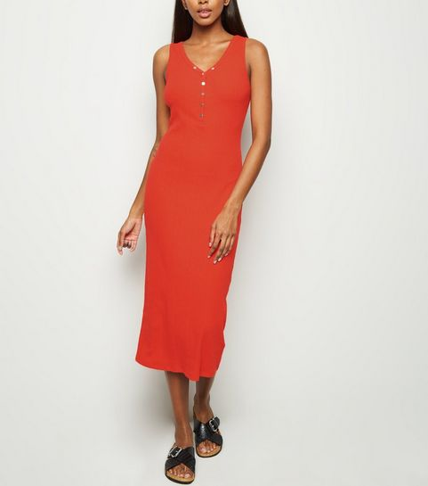 80ef8c1c793 ... Red Ribbed Popper Midi Bodycon Dress ...