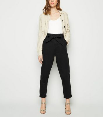 Black Paperbag Waist Tapered Denim Trousers