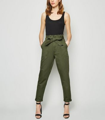Khaki Paperbag Tapered Denim Trousers