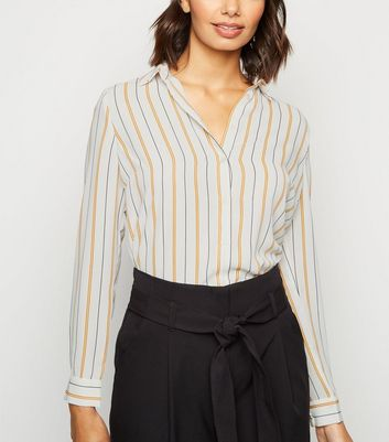 White Stripe Button Up Long Sleeve Shirt