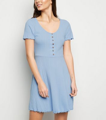 Pale Blue Ribbed Button Up Skater Dress