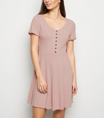 Pale Pink Ribbed Button Up Skater Dress