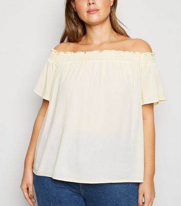 Curves Off White Cheesecloth Bardot Top