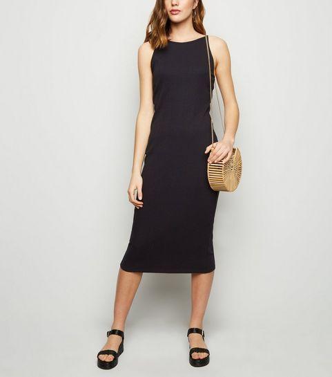 58dbf82694 ... Black Ribbed Strappy Bodycon Midi Dress ...