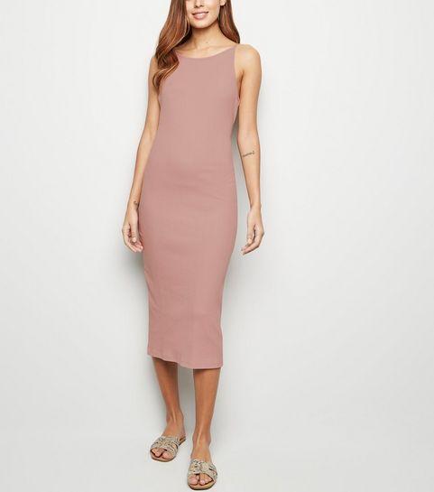 d80abc47dc ... Pink Ribbed Strappy Bodycon Midi Dress ...