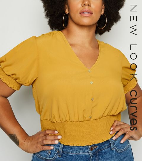 516558befd3 Curves Mustard Shirred Milkmaid Top · Curves Mustard Shirred Milkmaid Top  ...