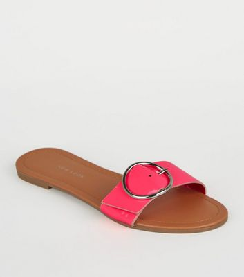Wide Fit Bright Pink Neon Ring Buckle Sliders