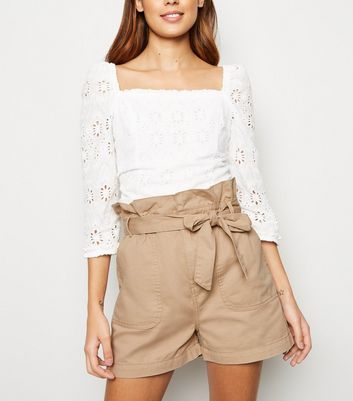 Stone Paperbag Belted Utility Shorts