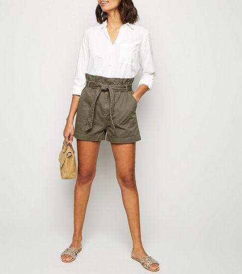 1e56002786 ... Khaki Paperbag Belted Utility Shorts ...