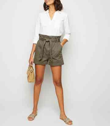 Khaki Paperbag Belted Denim Utility Shorts