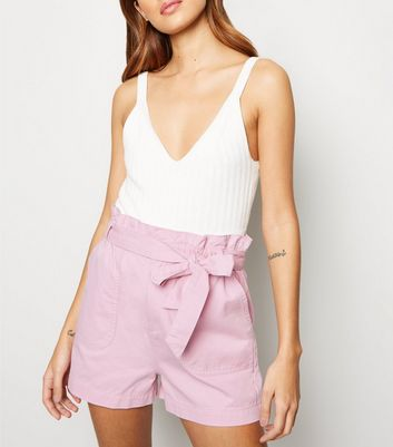 Pale Pink Paperbag Belted Denim Utility Shorts