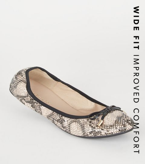 b6dfa64683b0fb ... Wide Fit Stone Faux Snake Ballet Pumps ...