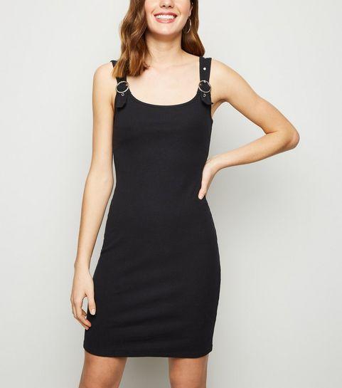 3f128d410a7 ... Black Buckle Ribbed Mini Dress ...