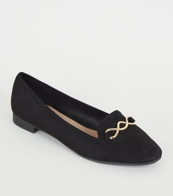 Wide Fit Black Square Toe Loafers