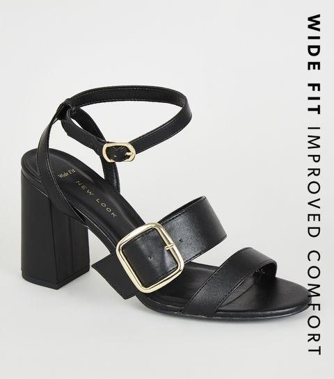 3ba7e10d5358 ... Wide Fit Black Snake Print Buckle Strap Heels ...