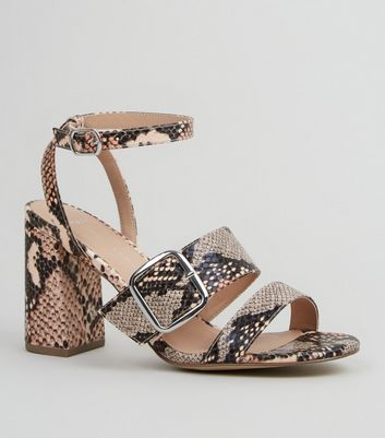 Wide Fit Pink Faux Snake Buckle Strap Heels