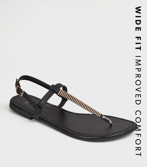 459e2b0b1bef ... Wide Fit Black Bar Strap Flat Footbed Sandals ...