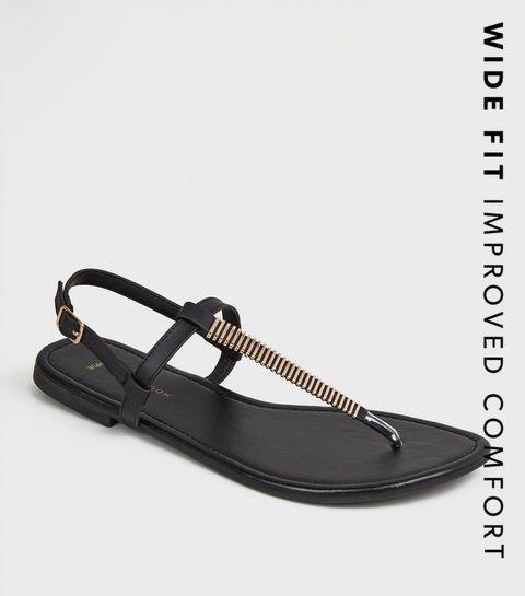 2d621654ef25 ... Wide Fit Black Bar Strap Flat Footbed Sandals ...