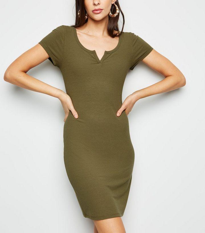 8316f177f4 Khaki Notch Neck Jersey Mini Dress