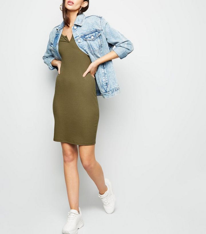 a35641d48a ... Khaki Notch Neck Jersey Mini Dress. ×. ×. ×. Shop the look
