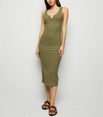 Khaki Notch Neck Jersey Midi Dress