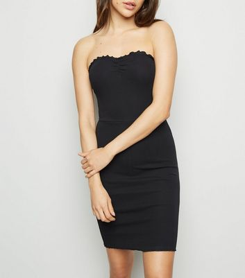 Black Frill Trim Strapless Mini Dress