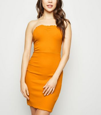 Bright Orange Frill Trim Strapless Mini Dress