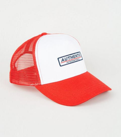 new product bfe79 3e87c ... Red Mesh Back Authentic Slogan Trucker Cap ...
