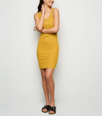 Mustard Ribbed Zip Front Mini Bodycon Dress