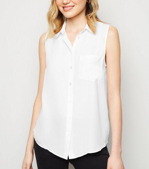 8323c514e7ff32 ... Off White Crepe Sleeveless Shirt ...