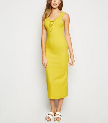 Yellow Ribbed Lace Up Midi Bodycon Dress