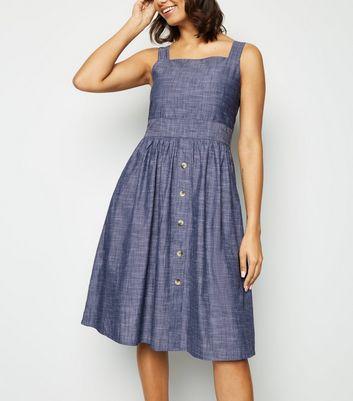shop for Blue Vanilla Blue Chambray Skater Dress New Look at Shopo
