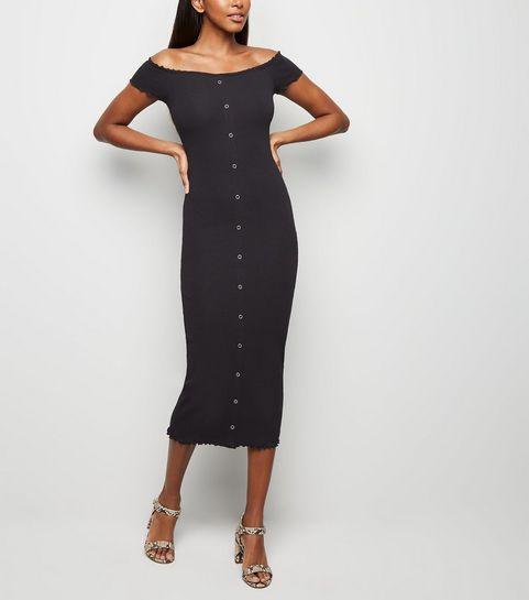 25da1e9b04e ... Black Frill Trim Bardot Midi Dress ...