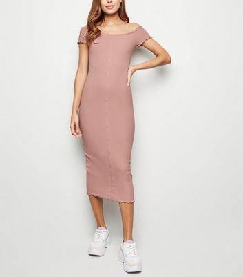 Pale Pink Frill Trim Bardot Midi Dress